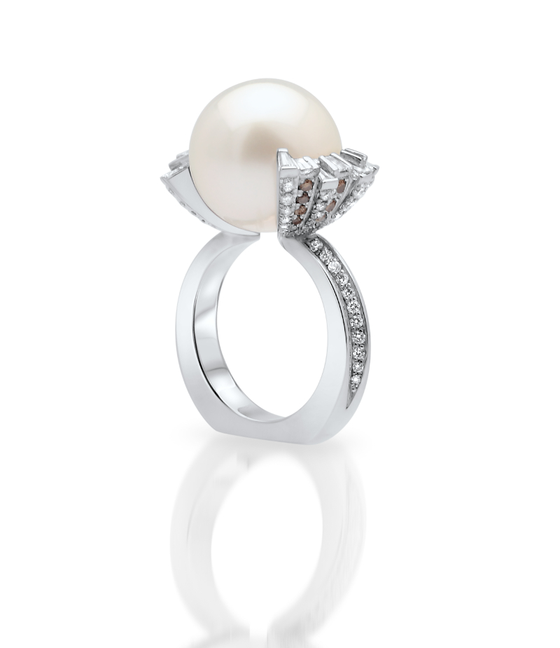 South Sea Pearl 18ct White Gold Diamond Ring
