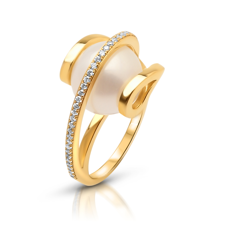 South Sea Pearl 14ct Yellow Gold Diamond Ring