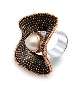 South Sea Pearl 18ct Yellow Gold Sterling Silver Ring