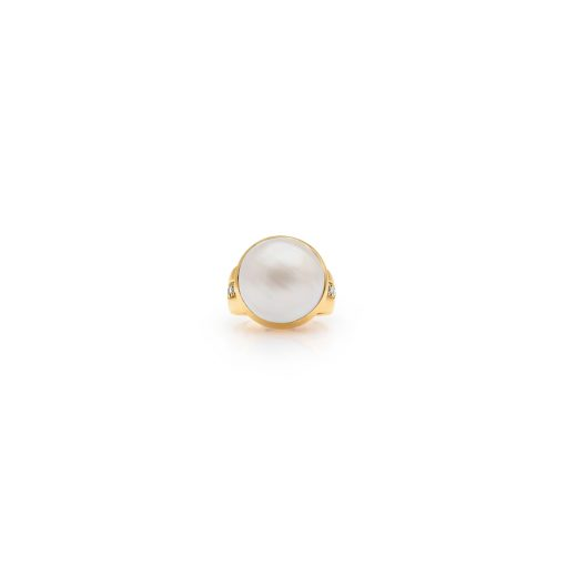 South Sea Mabe Pearl Diamond Ring