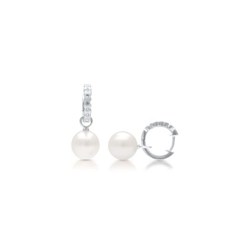 South Sea Pearl Cocos Diamond Huggie Earrings