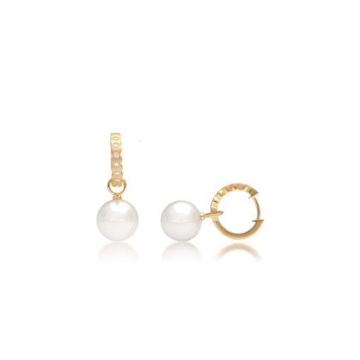 South Sea Pearl Cocos Diamond Huggie Earrings
