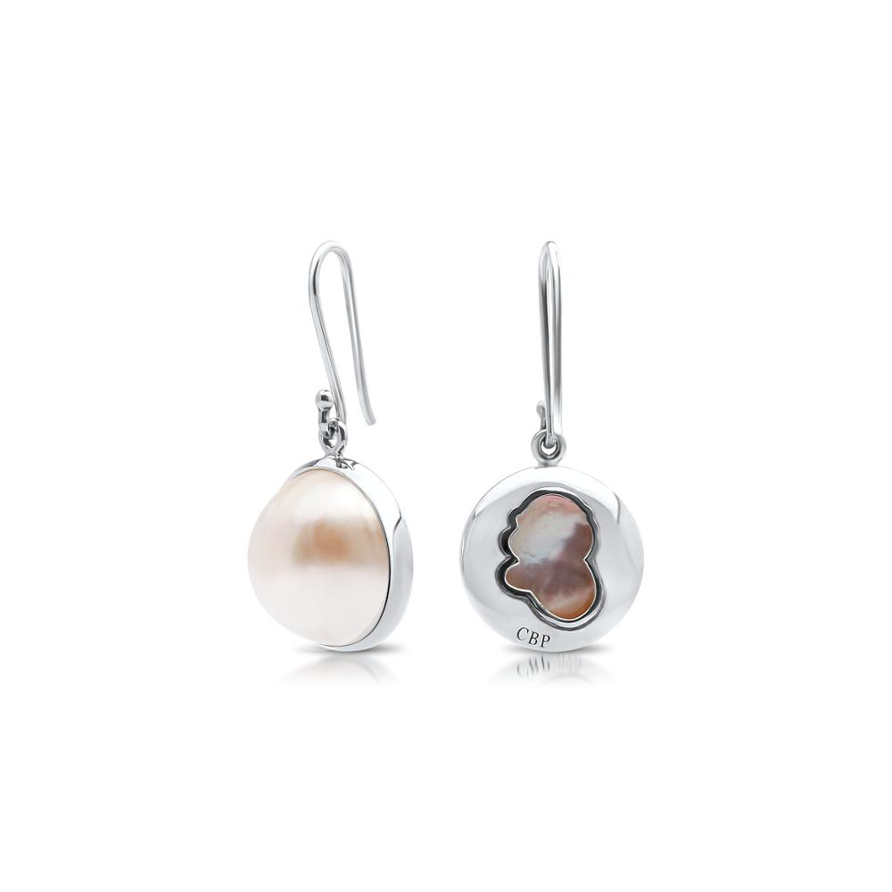South Sea Mabe Pearl Shepherd Hook Earrings Cygnet Bay