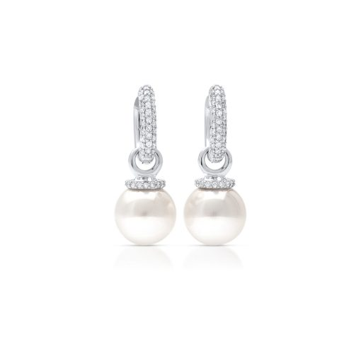 South Sea Pearl Diamond Huggie earrings