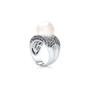 South Sea Pearl Black Diamond Ring