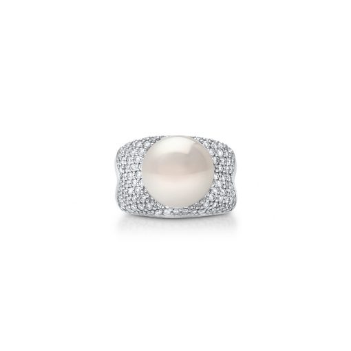 White Diamond Pearl Ring