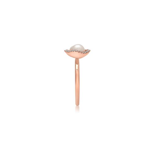 South Sea Keshi Pearl Diamond rose gold ring