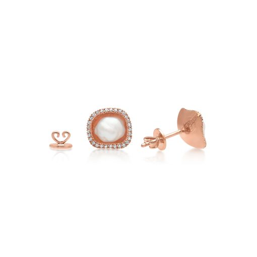South Sea Keshi and Diamond Rose gold Stud