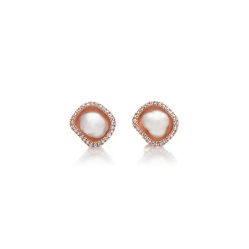South Sea Keshi and Diamond Rose gold Studs