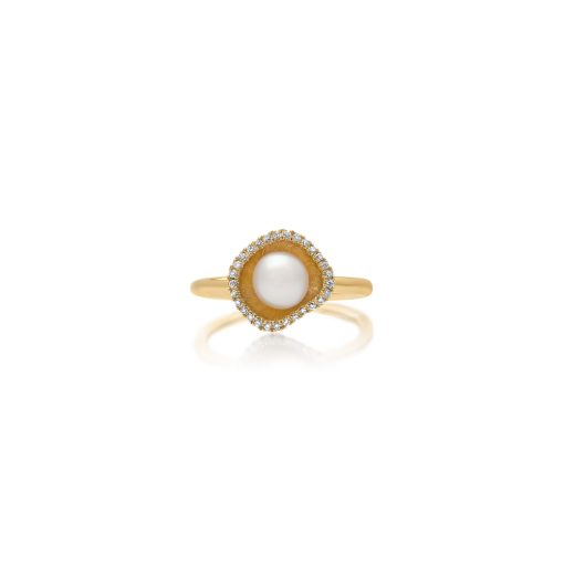 South Sea Keshi Pearl Diamond Ring