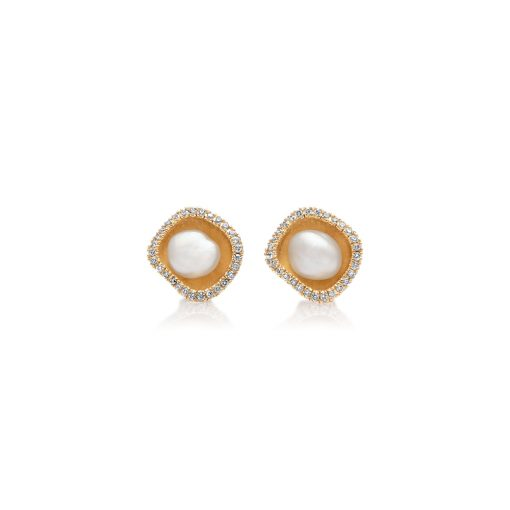 South Sea Keshi Pearl Diamond Studs