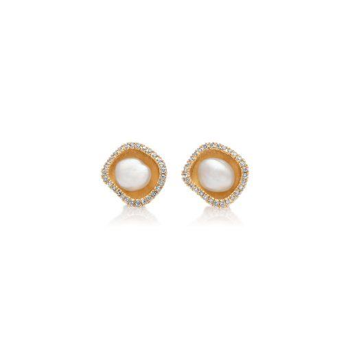 South Sea Keshi Pearl Diamond Studs