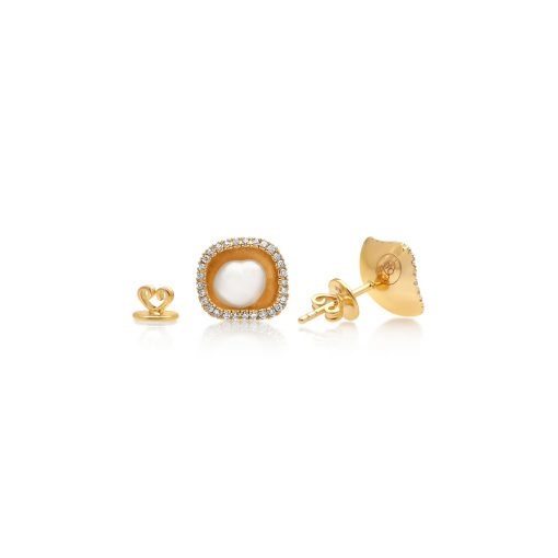Australian South Sea Keshi and Diamond YG Stud Earrings