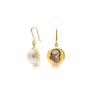 South Sea Mabe yellow gold earrings