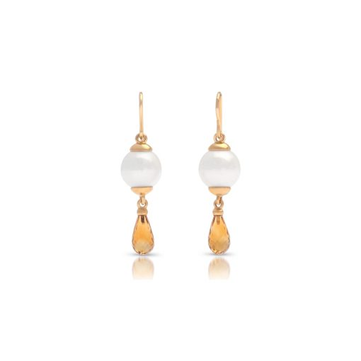South Sea Pearl Briolette Citrine Earrings