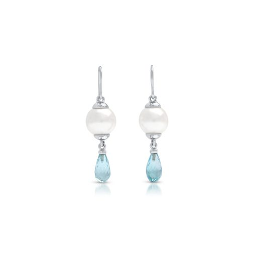 South Sea Pearl Briolette Topaz Earrings