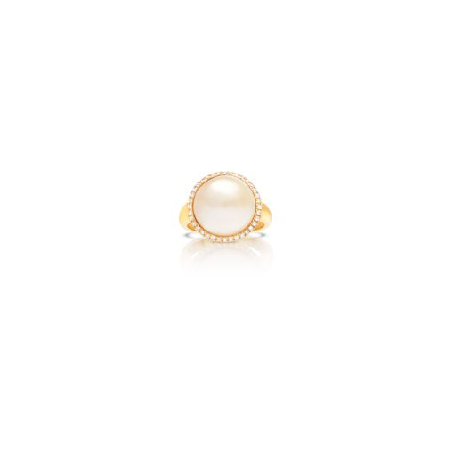 South Sea Mabe Pearl Halo Diamond ring