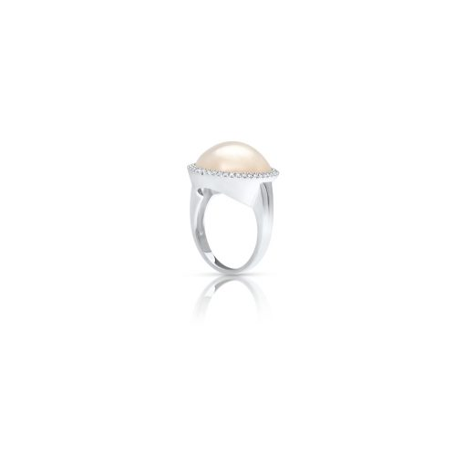 South Sea Mabe Pearl Halo Diamond ring