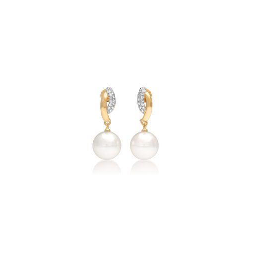 South Sea Pearl Duo Diamond Stud Earrings