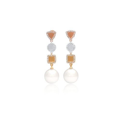 South Sea Pearl Geometric Diamond Earrings